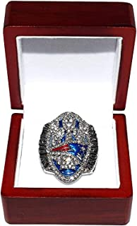 NEW ENGLAND PATRIOTS (Tom Brady) 2016 SUPER BOWL LI WORLD CHAMPIONS (Record Comeback Vs. Falcons) Rare Collectible High-Quality Replica Football Silver Championship Ring with Cherrywood Display Box