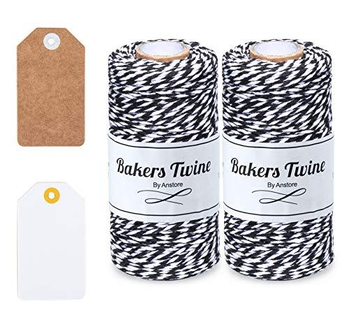 Anstore 200m Schwarz und Weiß Bindfäden, 100% Baumwolle Handwerk Bindfäden, Backer Schnur mit 20 Stück Geschenkanhänger Perfekt für DIY Kunstgewerbe Gartenarbeit