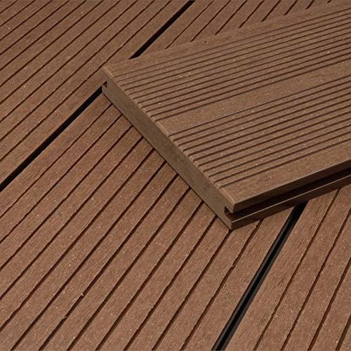 HORI® WPC-Terrassendiele Bali Braun Massivdiele I Komplettset inkl. 40x60 mm Unterkonstruktion & Clips I Fläche: 1 Muster I Muster Dielenlänge