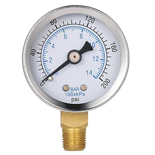 SM SunniMix Medidor de Presión de Agua de Filtro de Spa para Piscina de 200 Psi 0-200 PSI, Montaje Lateral, Tubo NPT de 1/8'
