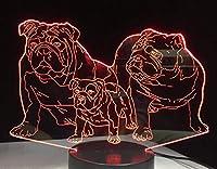 3Dイリュージョンナイトライト かわいい犬の家族 キッズ3Dイリュージョンランプキッズナイトライト7色変更スマートタッチおもちゃパーティー用品女の子の誕生日プレゼントのアイデア男の子