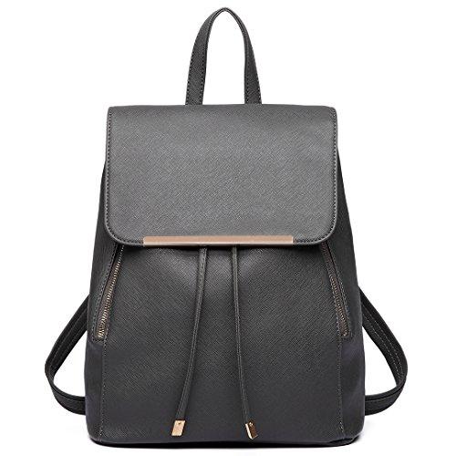 Miss Lulu Ladies Fashion PU Leather Backpack Rucksack Shoulder Bag (Grey)