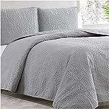 Mellanni Bedspread Coverlet Set Light-Gray - Bedding Cover - Oversized 3-Piece Quilt Set (King, Light Gray)