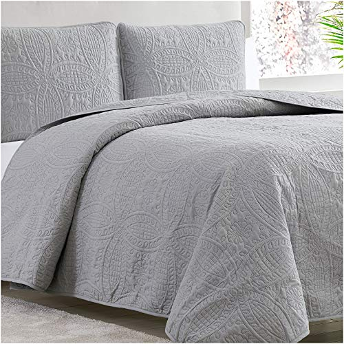 Mellanni Bedspread Coverlet Set Gray Comforter Oversized 3-Piece Quilt Set (Full/Queen, Light Gray)
