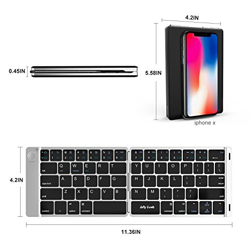 Foldable Bluetooth Keyboard, Jelly Comb B047 Ultra Slim Folding Mini Bluetooth Keyboard Rechargeable Pocket Sized Keyboard for iPad Android Windows Mac OS iOS Laptop Tablet Smartphone and More-(Black)