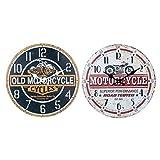 By SIGRIS Reloj Pared 34Cm Motos Incluye 2 Unidades Adorno Pared Relojes Colección Vintage Signes Grimalt Decor And Go