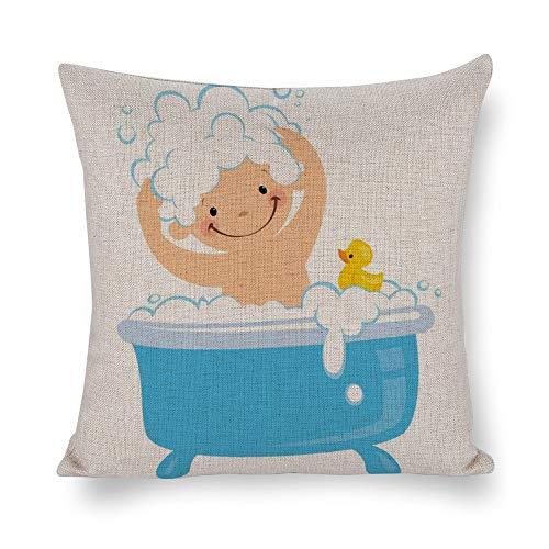 AILOVYO Kissenbezug aus Baumwolle und Leinen, für Baby-Badewanne, Vintage-Retro-Kissenbezug für Zuhause, Sofa, Schlafzimmer, Dekoration