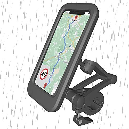 JJvKa Cykel mobilhållare vattentät motorcykel mobilhållare med stötdämpare, flexibel 360° kulled, teleskoparm, pekskärm, universal mobilväska styrväska för smartphone upp till 6,5 tum