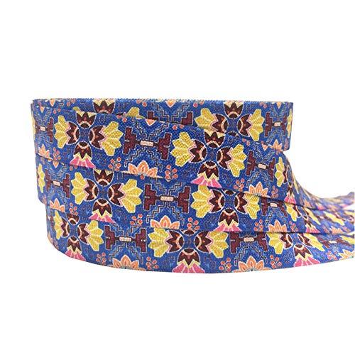 SHIM 10yards Geometrische Aztec Blume Falten über elastische Band FOE Diamanten für DIY-Stirnband-Haar-Riegel Hairbow, Geschenkpapier, 15mm,P1040,Haargummi -40pcs
