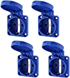 Pack de 4 enchufes empotrados con tapa de muelle, IP54, 50 x 50 mm