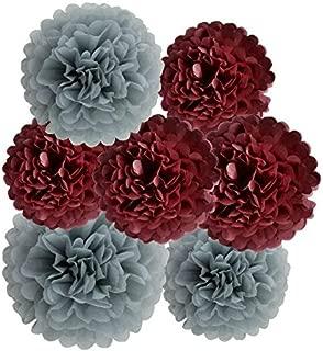 HEARTFEEL 12pcs Tissue Paper Pom Poms, Grey Burgundy Paper Flowers 8inch 10inch Tissue Paper Balls, Best Paper Pom Pom Decorations for Wedding, Birthday Baby Shower Bachelorette Nursery Decorations