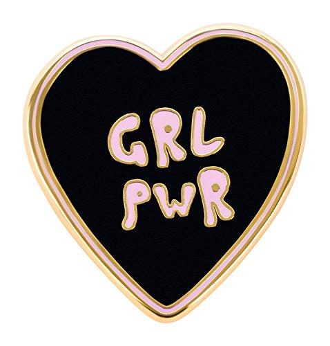 likalla Herz Pin Anstecker Button GRL PWR, gold-plattiert, hochwertige Hartemaille zweifarbig schwarz und rosa. Girl Power zum Anstecken.