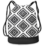 engzhoushi Zaino con Coulisse,Sacchetto,Borsa Palestra Native Geometric Print Lightweight Drawstring Bags Gym Eco-Friendly Luggage Drawstring Backpack Shoulder Bags