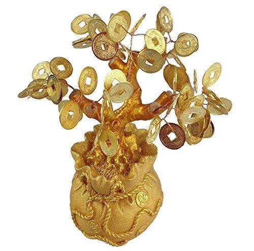 GMMH Feng Shui Glücksbaum 17 cm Geldbaum Bonsai Pfennigbaum Handarbeit Stein Gold