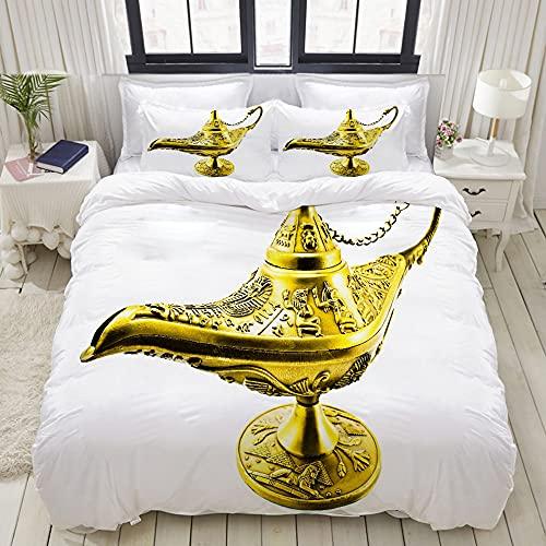 ELIENONO Juego de Bettbezug de decoración (140x200cm) Aladdin Magic Genie Lamp Wish Mystery Magic Wonder Historia de Aventuras Juegos de Bettwäsche de 3 Piezas con 2 Kissenbezügen