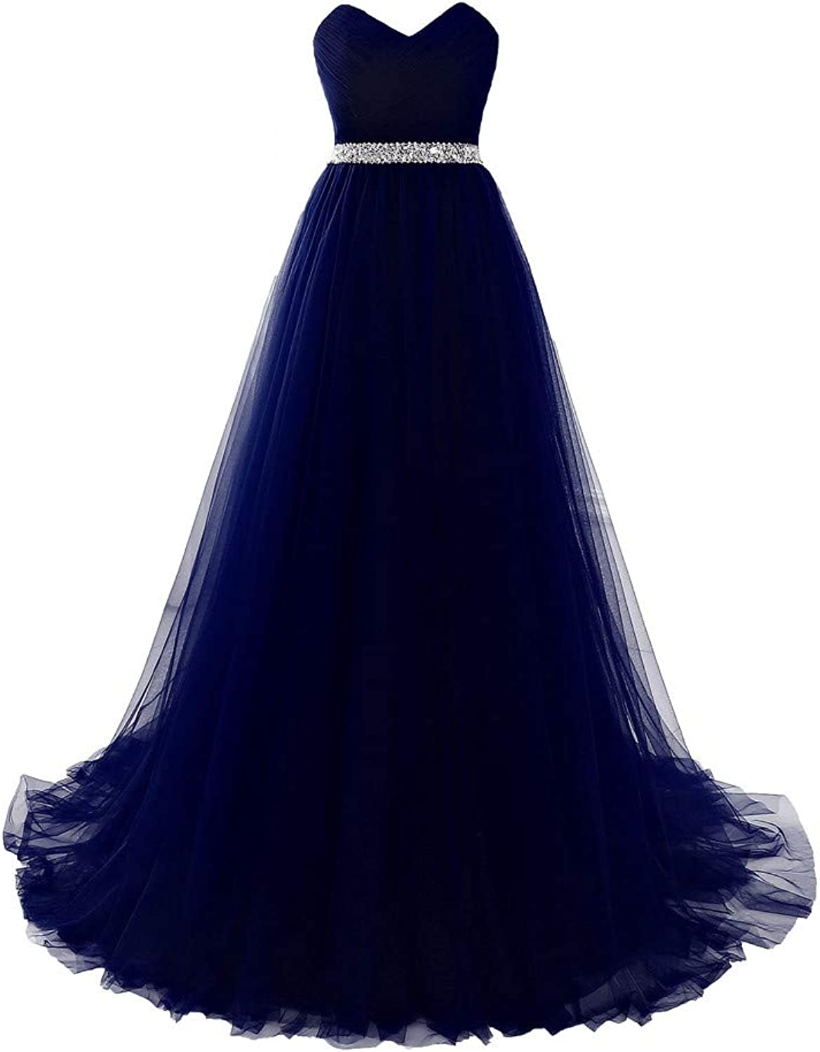 Datangep Sweetheart A Line Tulle Long Prom Evening Dresses Bridesmaid Party Gowns