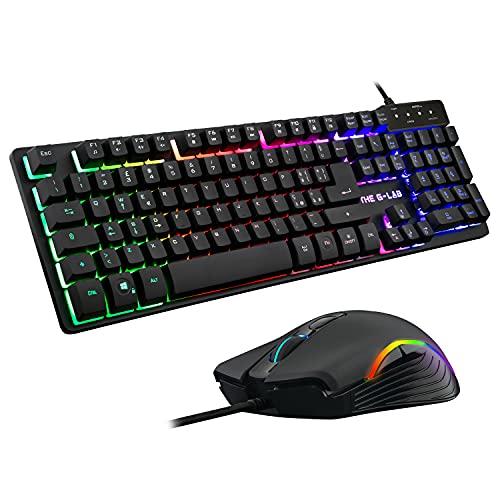 THE G-LAB Combo KRYPTON Pacchetto Tastiera e Mouse per Gamer Retroilluminazione RGB - Tastiera ITALIANA USB Anti-Ghosting + Mouse a 6 Pulsanti 3200 DPI - Pacchetto di Gioco PC PS4 Xbox One (Nero)