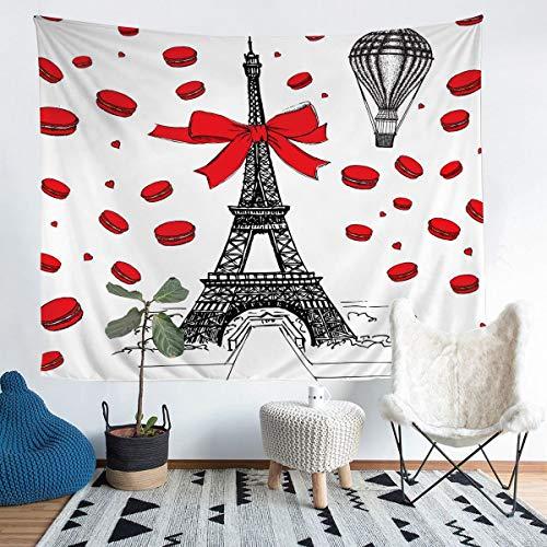Tapiz de la torre Eiffel para niñas y niños París temático de París París París Paraíso Decoración de la habitación Ropa de cama Manta romántica Amor Rojo Medio 51x59