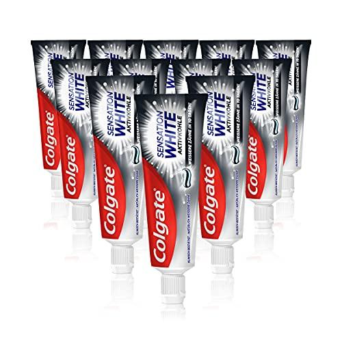 Colgate Zahnpasta Sensation White, 12 x 75ml - Zahncreme mit Aktivkohle, weißere Zähne in 10 Tagen
