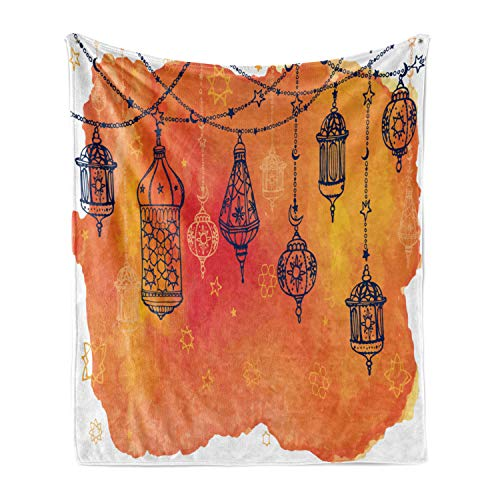Ambesonne Traditional Soft Flannel Fleece Throw Blanket, Lanterns Garland Middle Eastern Theme Oriental Artwork, Cozy Plush for Indoor and Outdoor Use, 50' x 70', Orange Vermilion Black
