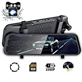 EDSSZ Mirror Dash Cam 10' Backup Camera, Dash Cam Front and Rear Dual Lens Touch Screen Video Streaming 1080P Rear View Mirror Camera with Night Vision Waterproof Reversing Camera 32G TF Card Included