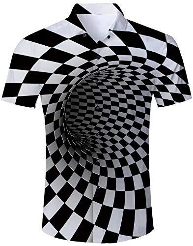NEWISTAR Floreale Tasto Camicia Hawaiana Stampa Hawaiano Casuale Maniche Corte Estivo Shirt
