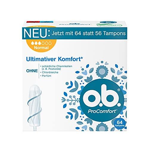 o.b. Tampon, ProComfort Normal, für mittlere bis stärkere Tage, ultimativer Komfort* und zuverlässiger Schutz, 64 Stück