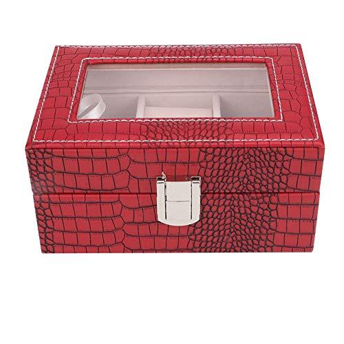 KEYREN Organizzatore di valigie di stoccaggio Portatile con Scatola di immagazzinaggio di Gioielli con Specchio(Vino Rosso)