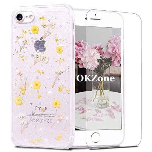 OKZone Kompatible mit iPhone 8 / iPhone 7 (4,7 Zoll) Hülle[mitHD-Schutzfolie],[GetrockneteBlumen]BlumeGepresstHandyhülleKristallGelSchaleSchutzEchteBlumeBumperCaseCoverHülle (Gelb)