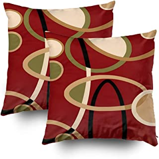 Capsceoll 2PCS cranberry red tan black geometric circle Decorative Throw Pillow Case 20X20Inch,Home Decoration Pillowcase Zippered Pillow Covers Cushion Cover Words Book Lover Worm Sofa Couch