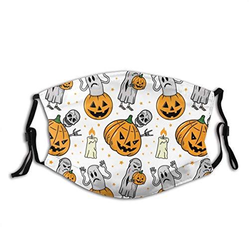 Halloween Schedel Ghsot Pompoen Kaars Wit Achtergrond Mond Mouw Met Filter Unisex