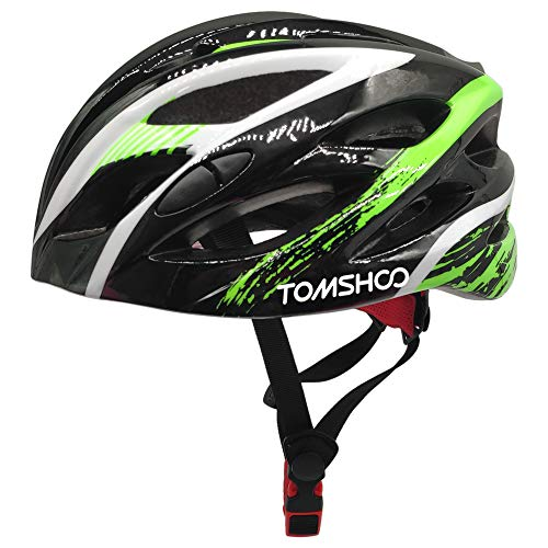 TOMSHOO Cycle Helmet, Bicycle Helmet with Adjustable Buckle Safety Tail Light and Removable Padding, Lightweight and Safety Bike Helmet for Adults Mens Women for Cycling Mountain Bike Skateboarding