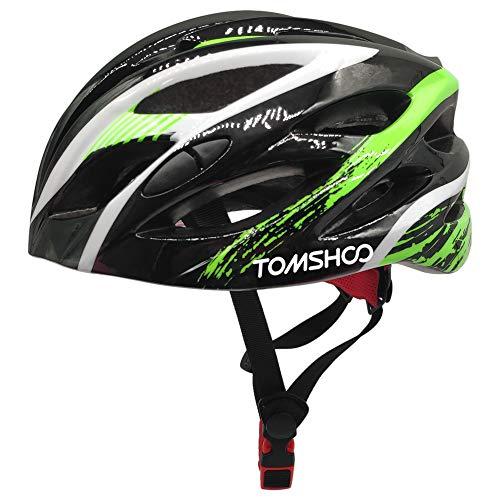 TOMSHOO Casco de Bicicleta MTB con Hebilla de Seguridad Ajustable, Parte Trasera Acolchada Desmontable, Ligero y Seguro Casco de Bicicleta para Adultos, Hombres y Mujeres, Ciclismo de Montaña
