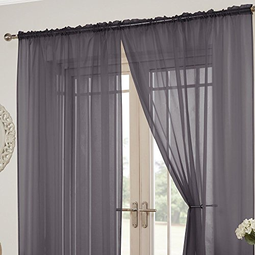 Tony's Textiles Lucy Slot Top Pair of Voile Curtains - Silver Grey (57' Wide x 72' Drop)