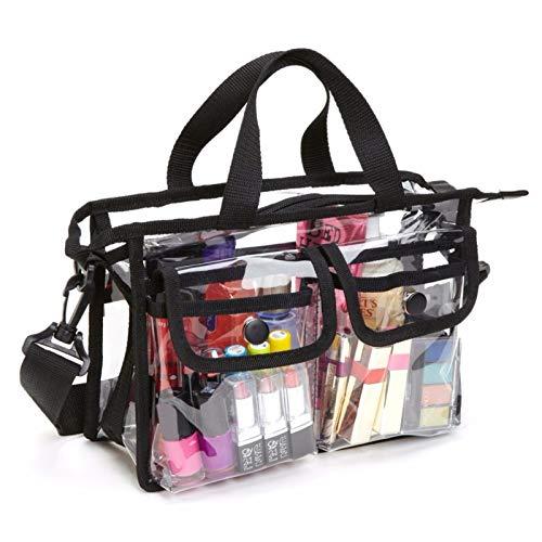 Genomskinlig väska, EVA kosmetisk förvaringsväska bärbar resesminkväska för kvinnor och flickor vattentäta toalettväskor axelrem väska för strandresor