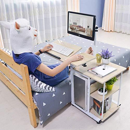 UKMASTER Nachttisch mit Laptopständer Multifunktional Laptoptisch, höhenverstellbar Beistelltisch mit Rollen Holz Betttisch für Bett Sofa