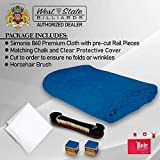 Simonis Worsted Blend 860 Fast Speed Pool Cloth -Billiard Table Felt and Horsehair Brush Spots and Chalk - 7 feet - 6 pre-Cut Rail Pieces - No Nap – Tournament Grade (Royal Blue)