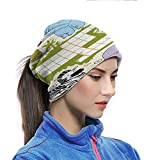 Head Wrap Face Scarf Word Search Puzzle Neck Gaiter for Sun Protection Colorful Crossword Game for Children Wild Jungle Safari Animals Grid Breathable Summer Balaclava Multicolor 10x11.6 inch