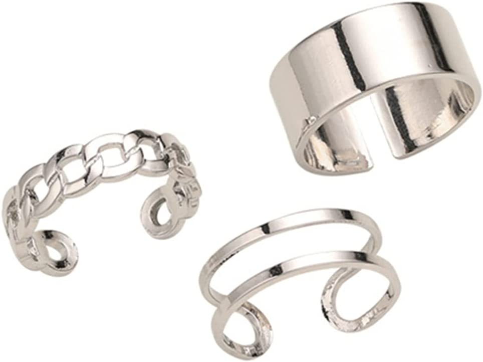 LoveAloe 3Pcs Open Rings Set for Women Exquisite and Simple Design Rings Stackable Thumb Adjustable Rings Set