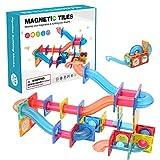 Wisson Baldosas Magnéticas Tubos De Bolas Bloques Magnéticos para Niños, Bloques De Construcción Magnéticos 3D Juego De Baldosas, Imán De Mármol con 4 Canicas De Plástico Juguetes