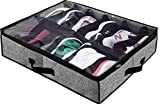 homyfort Shoe Organizer Under Bed,Fit 12 Pairs Underbed Shoe Container Box Storage with Clear Window for Sneakers,Clothes, Toys,Black with Printing,1 Pack