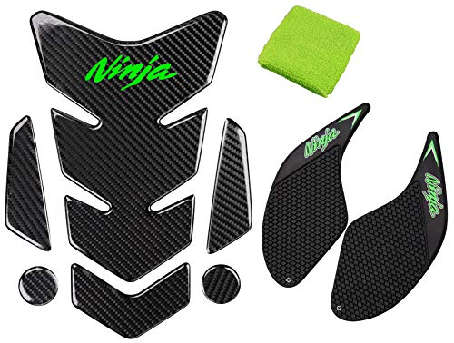 REVSOSTAR 5D Real Carbon Fiber, Motorcycle Decal Vinyl Tank Protector, Traction Side Fuel Knee Grip Decal, Brake Reservoir Sock for Ninja 250 300 2008-2018