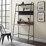 Walker Edison Freya Urban Industrial Ladder Desk with Metal Magnet Board, 36 Inch, Grey Wash