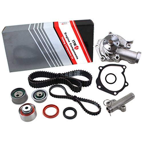 New ITM232HTWP (123 Teeth) Timing Belt Seals Kit, Hydraulic Tensioner (Auto Adjuster), and Water Pump Set Compatible with 99-05 MITSUBISHI GALANT ECLIPSE 2.4L(2350cc), SOHC 16V 4G64