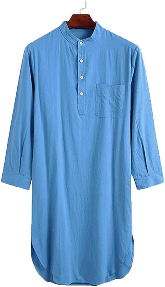 Mens Kurta Henley Shirts Kaftan Thobe Longline T Shirts Long Sleeve Light Plain Gown Nightshirts Muslim Robe