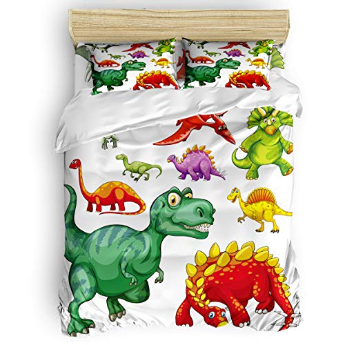 California King 4 Pcs Duvet Cover Set Cartoon Dinosaur Skin-Friendly Lightweight Breathable Bedding Sets with Zipper Closure, Corner Ties