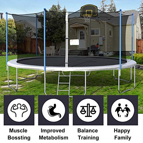 16FT Trampoline for Kids, Outdoor Trampoline with Safety Enclosure Net Basketball Hoop and Ladder, Trampoline for Adults (Silver Grey)