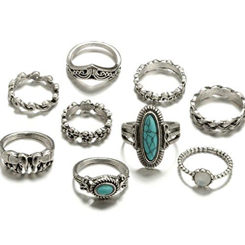 Rurah 9 Pcs Fashion Bohemian Vintage Joint Knuckle Nail Ring Set Turquoise Geometric Metal Ring