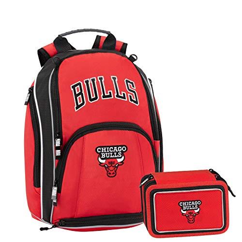 NBA Chicago Bulls Schoolpack Zaino Scuola Organizzato più Astuccio 3 Zip Completo di Cancelleria