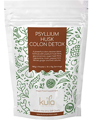 Le côlon Psyllium Husk nettoie et désintoxication - 18 portions - Contient de la L-glutamine, de l'inuline, fenouil, et des fibres pour aider la fonction intestinale normale.